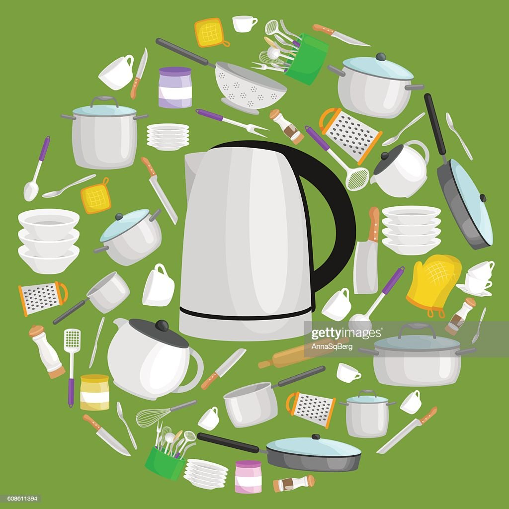 Cartoon kitchen utensil set, collection of metallic teapot and other