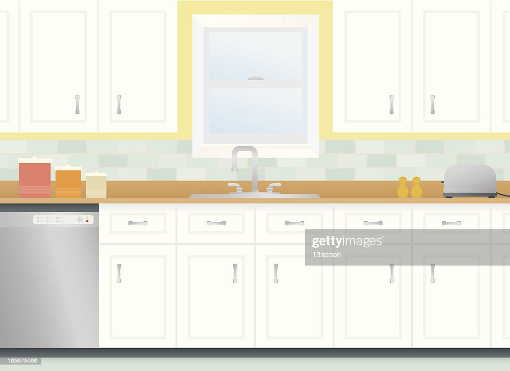 Cartoon Kitchen With Cabinets And Window High-Res Vector