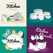 Cartoon kitchenware utensil collection.Steel kitchen household cutlery, cooking equipment