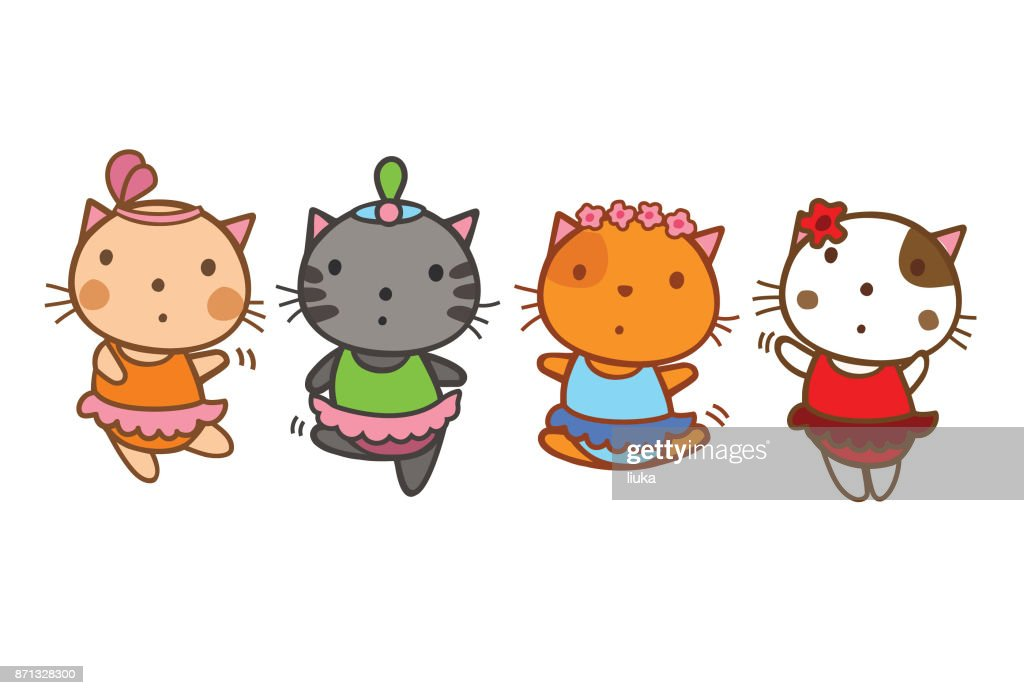 cartoon kitten ballerinas