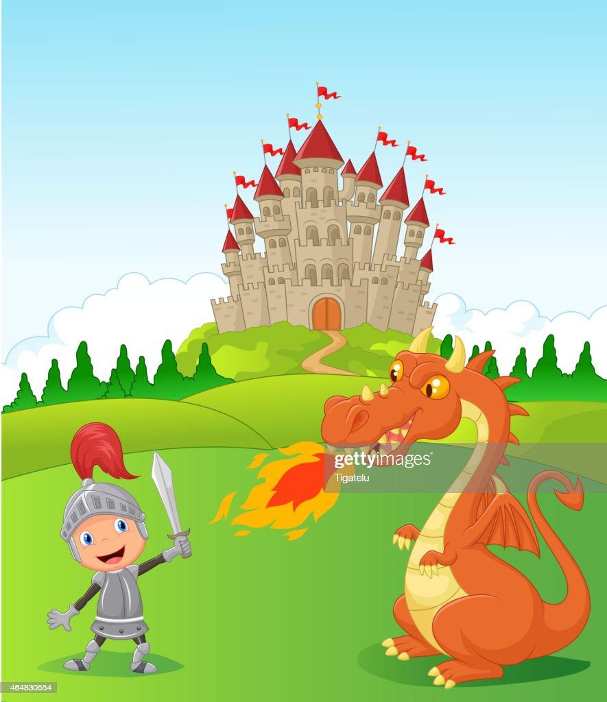 Cartoon knight fights a fire breathing dragon near a castle