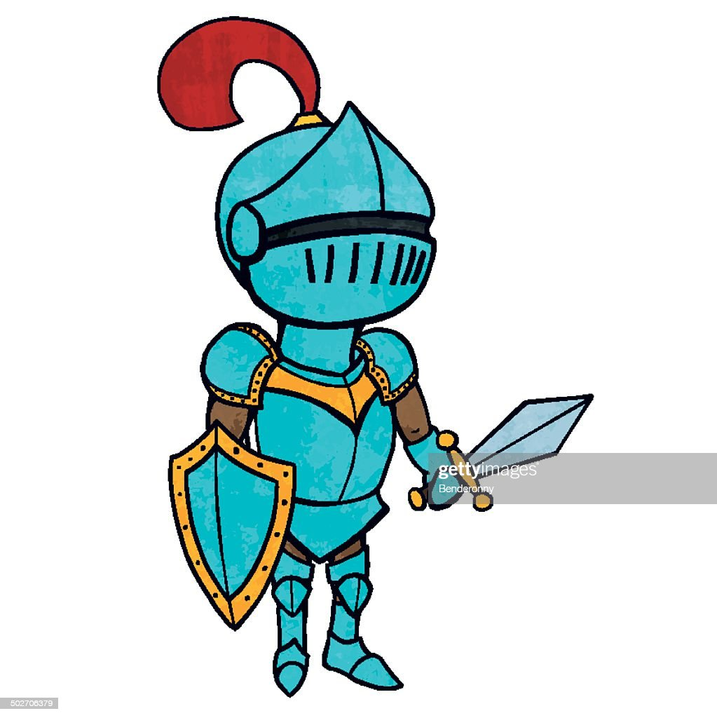 Cartoon knight in armour with sword and shield. Isolated
