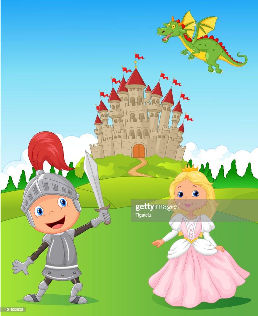 Cartoon Knight, princess and dragon