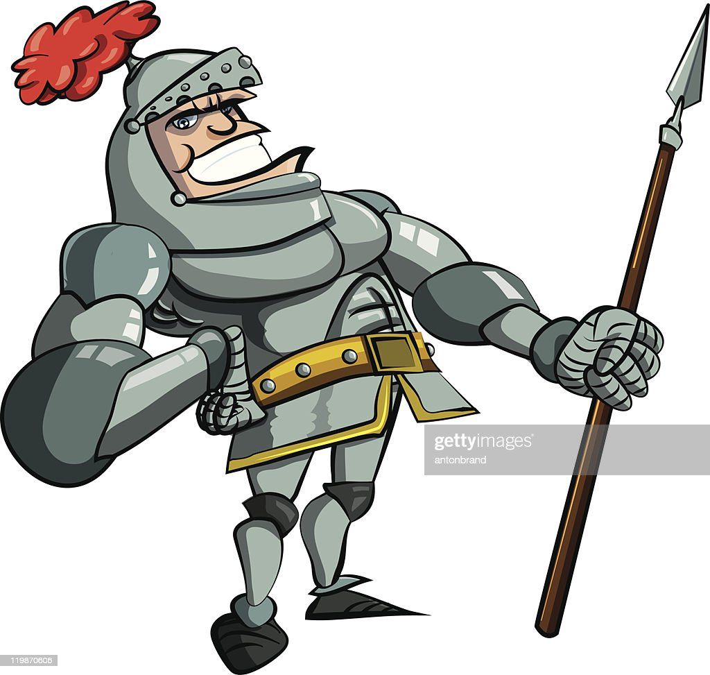 Cartoon knight with a spear
