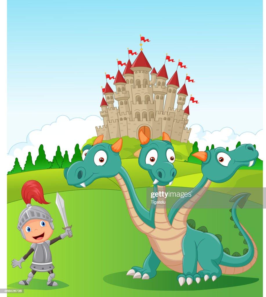 Cartoon knight with three headed dragon