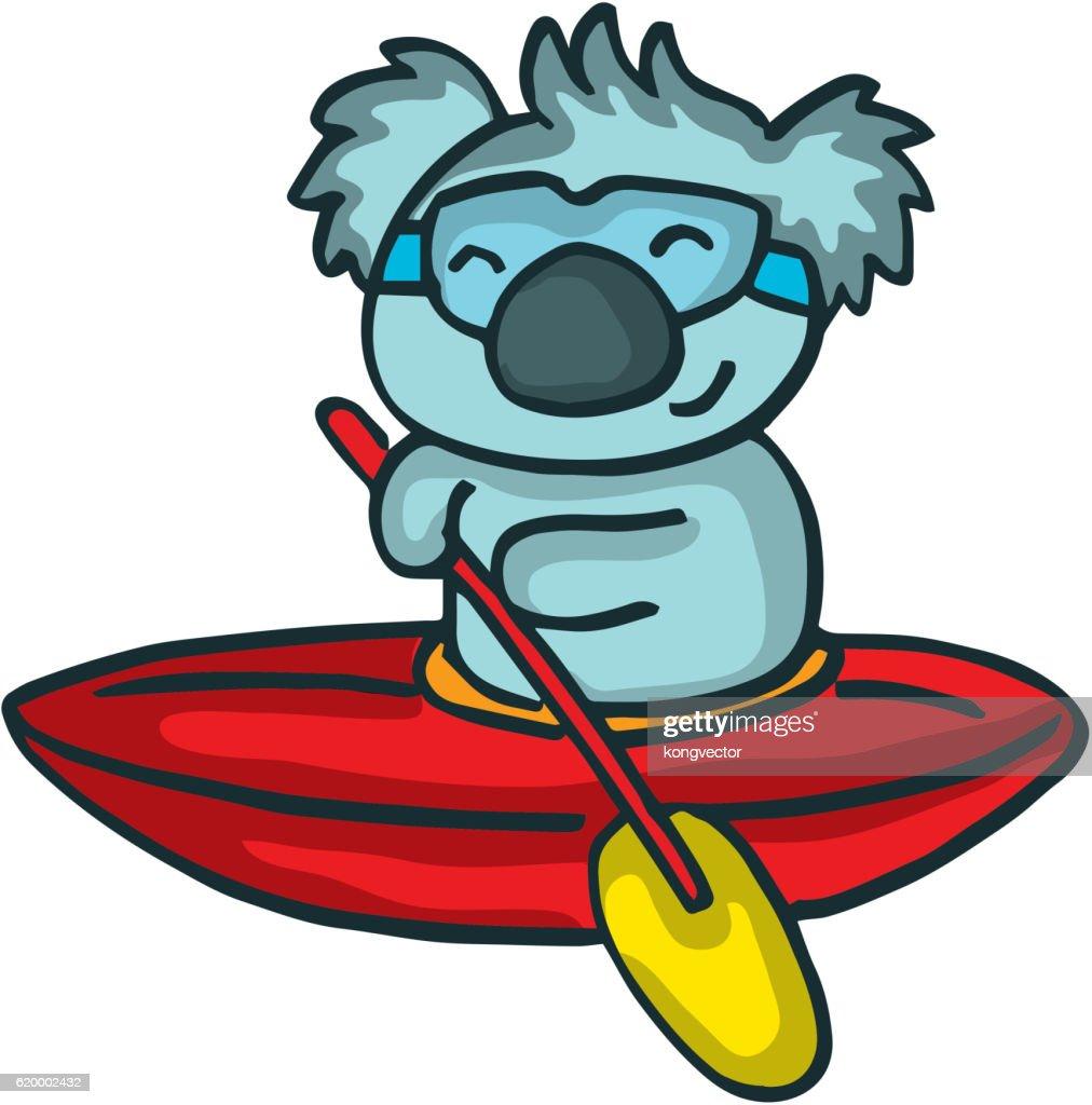 Cartoon koala on the ship