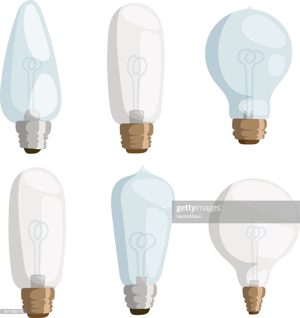 Cartoon Lamps Light Bulb Electricity Design Vector Illustration Set