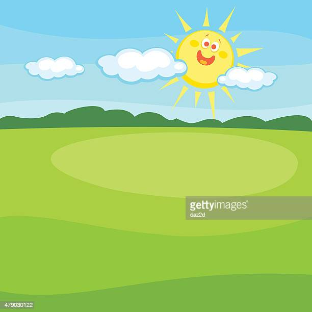 Cartoon Landscape With Cute Smiling Sun
