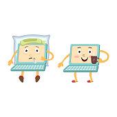 Cartoon laptop computer characters - sick, healthy