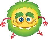 Cartoon  laughing green monster