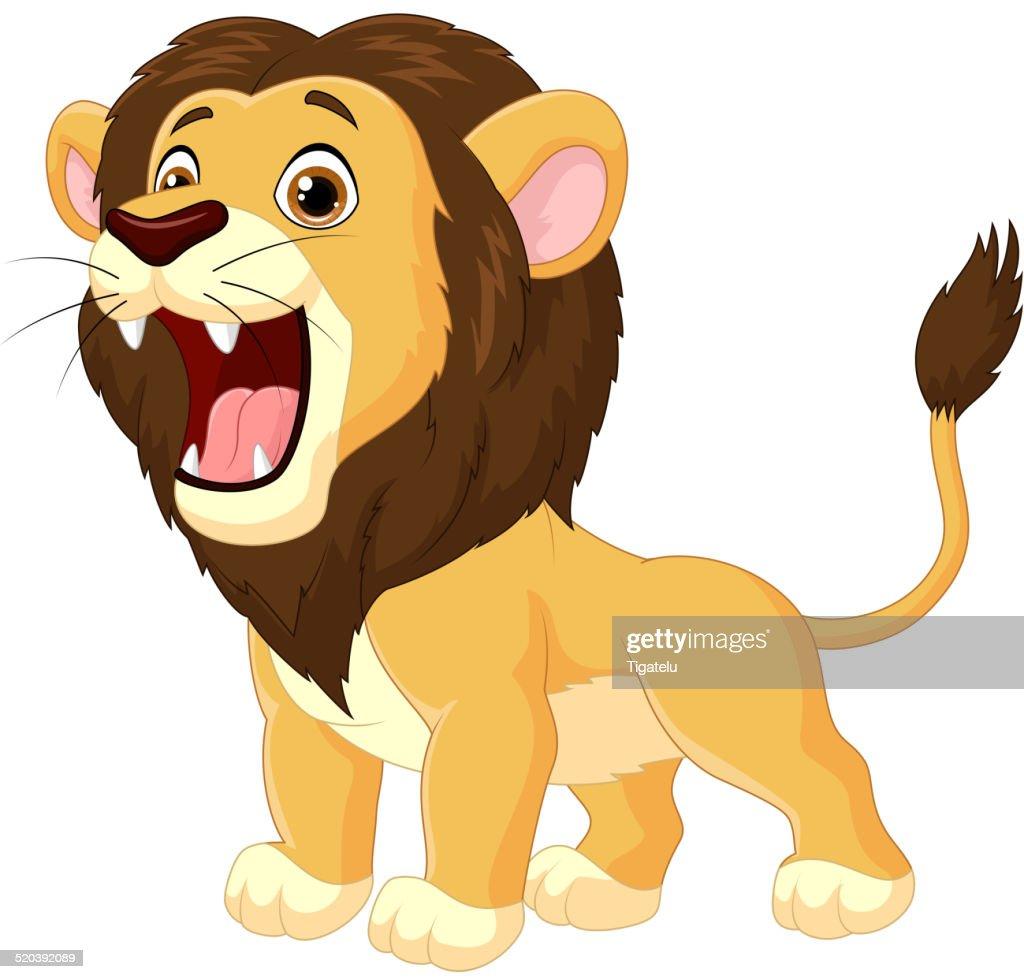 Cartoon lion roaring