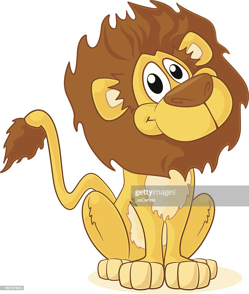 Cartoon lion sitting and smiling on white background : stock illustration