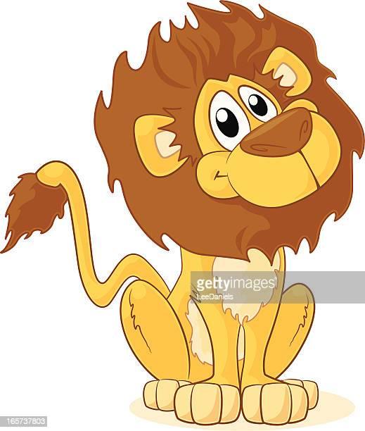 cartoon lion sitting and smiling on white background - animal mane stock illustrations, clip art, cartoons, & icons