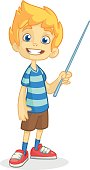 Cartoon little boy in shorts and striped t-shirt. Vector illustration of a funny make presentation with pointer