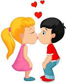 Cartoon little boy kissing a girl