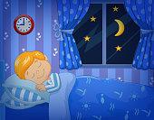 Cartoon little boy sleeping in the bed