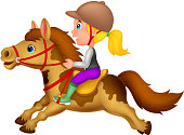 Cartoon Little girl riding a pony horse