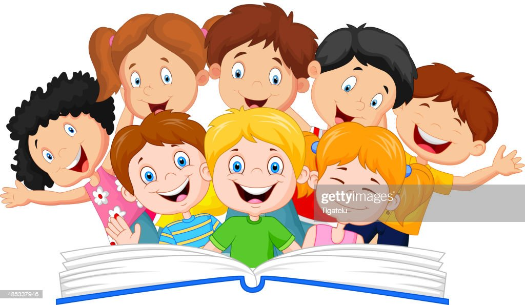 Cartoon little kid reading book funny