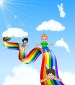Cartoon little kids playing slide on rainbow