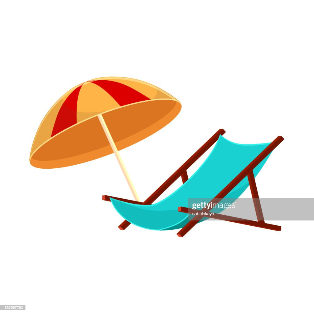 Cartoon lounge chair and striped beach umbrella