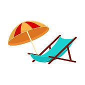 Cartoon lounge chair and striped beach umbrella