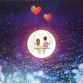 Cartoon lover couple on heart balloon swing, moon, stars sky