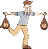 Cartoon lucky man carrying bags of money