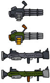 Cartoon machine guns and bazooka vector icons