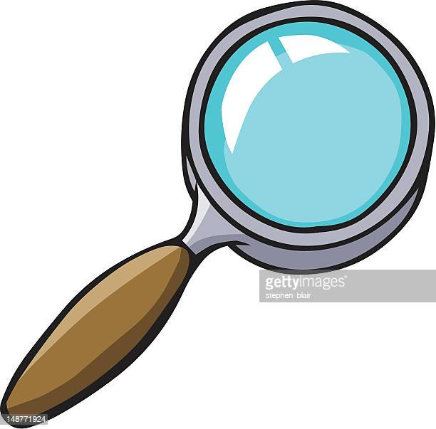 cartoon magnifying glass - stehen stock illustrations