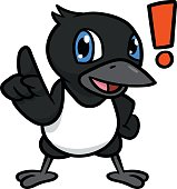 Cartoon Magpie Excited With Exclamation Mark Vector Illustration