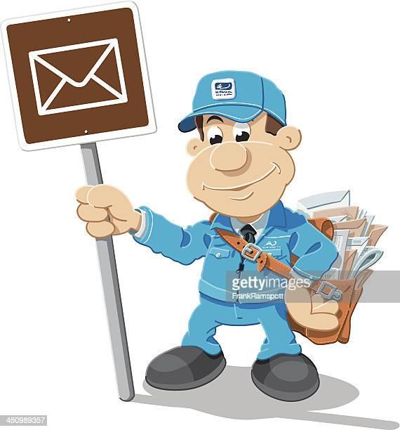 illustrations, cliparts, dessins animés et icônes de mailman lettre de dessin animé isolé - facteur