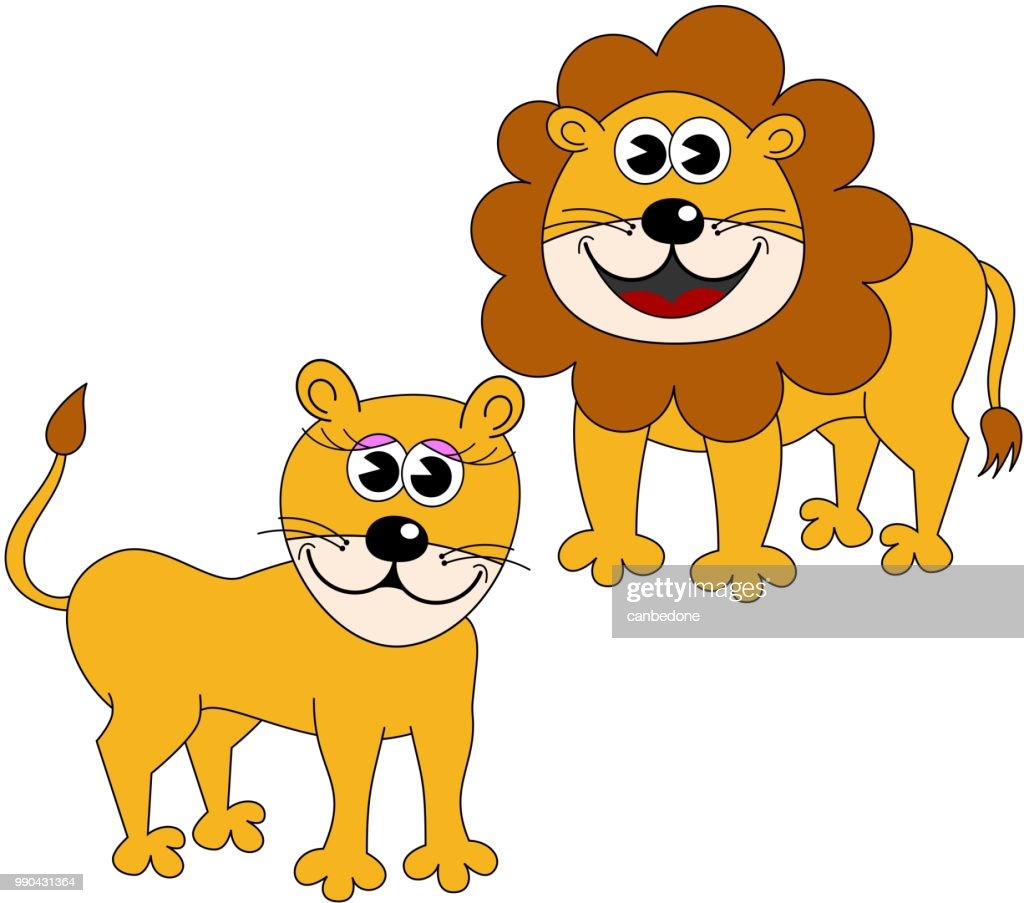 Cartoon male and female lions isolated