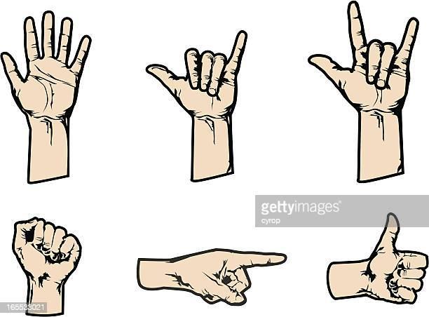 stockillustraties, clipart, cartoons en iconen met cartoon male hand gestures - zwaaien gebaren