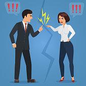 Cartoon Man and woman quarreling. Angry office people quarrel vector flat illustration.