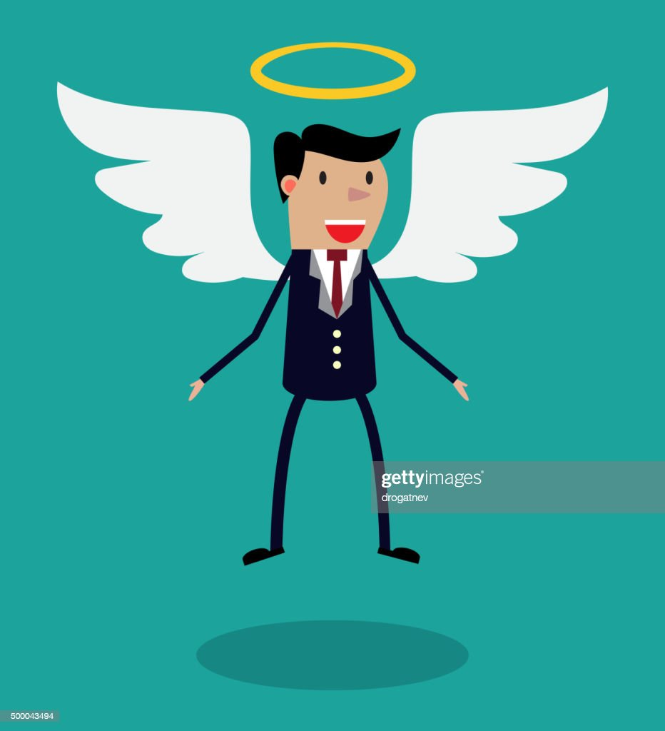 Cartoon man character in business suit with wings