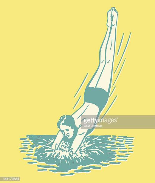Cartoon man diving into the water