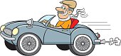 Cartoon Man Driving a Sports Car.