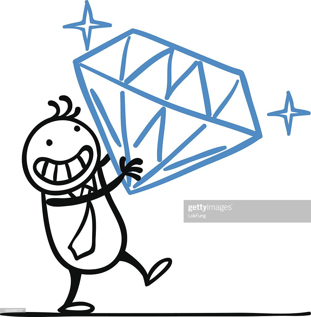 Cartoon man got a large diamond