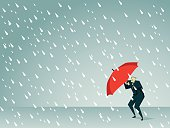 Cartoon man holding a red umbrella in a rain storm