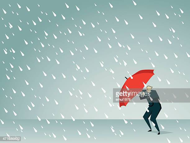 cartoon man holding a red umbrella in a rain storm - emergency shelter stock illustrations