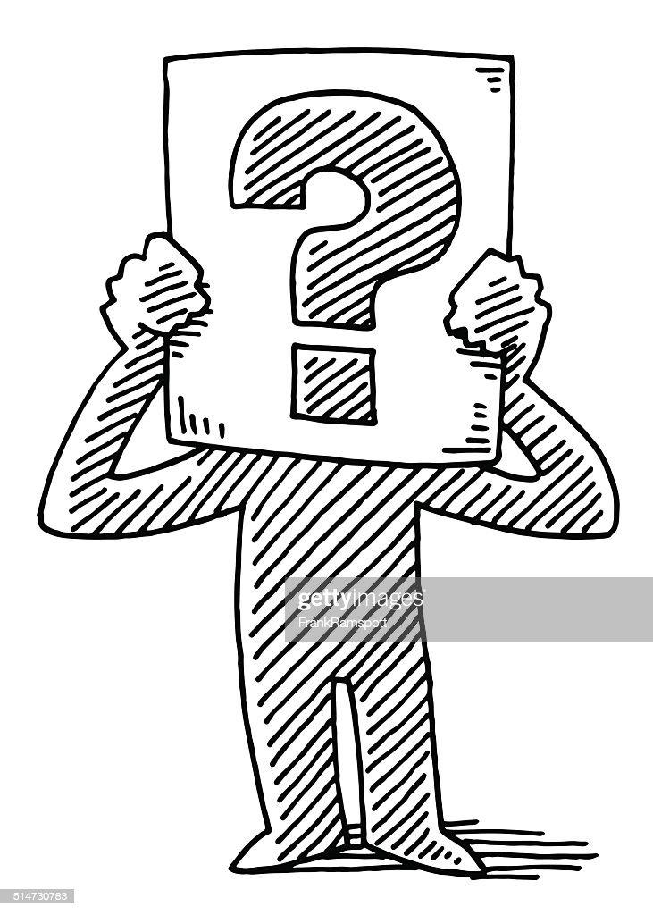 Cartoon Man Holding Sign Question Mark Drawing : stock illustration