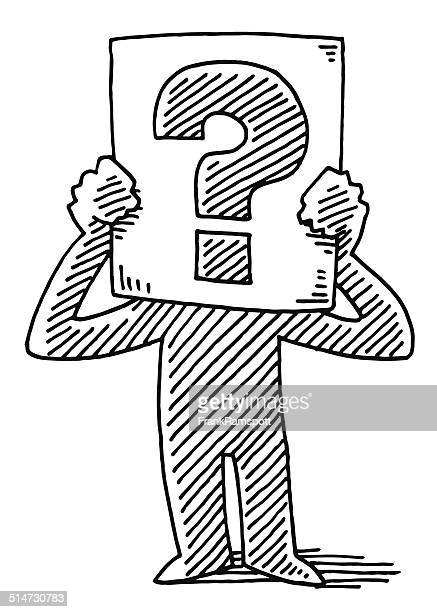 cartoon man holding sign question mark drawing - figurine stock illustrations, clip art, cartoons, & icons