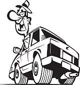 Cartoon man in car Vector Clipart