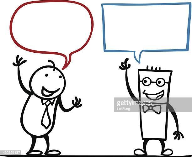 illustrations, cliparts, dessins animés et icônes de homme en dessin animé de discussion - deux personnes