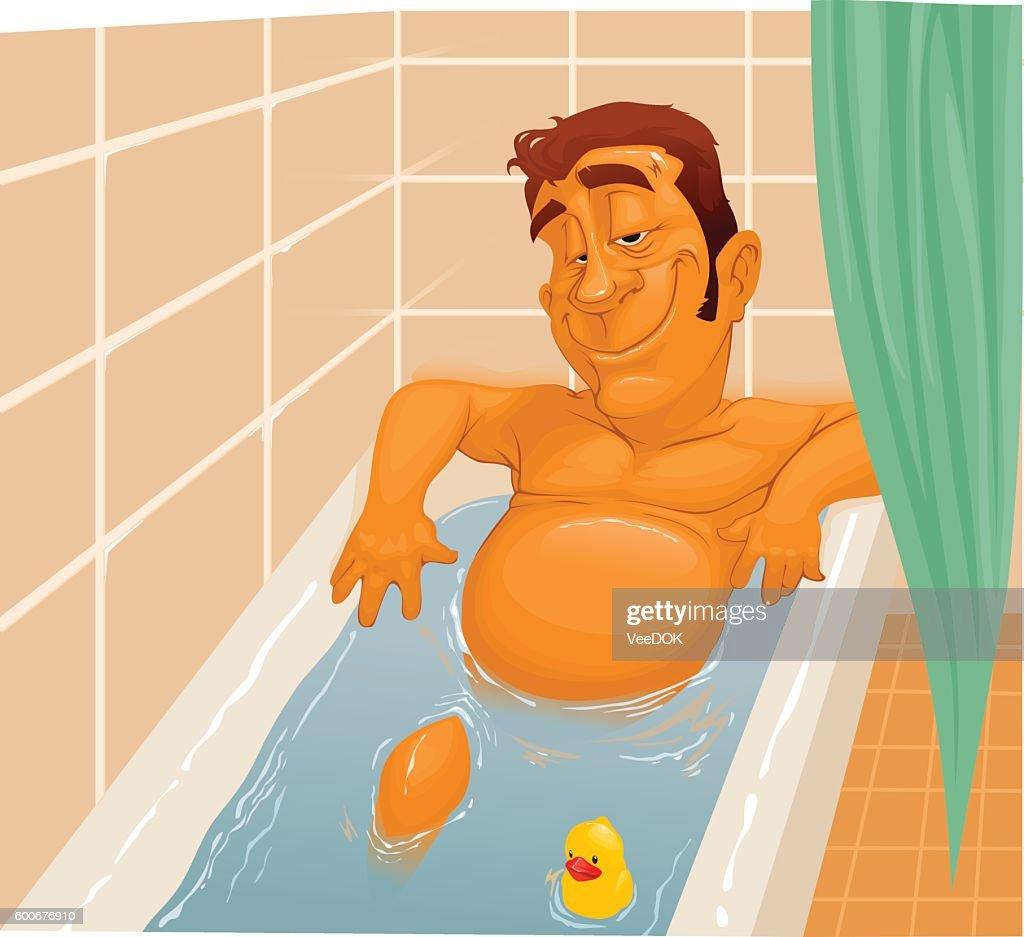 cartoon man in the bathroom