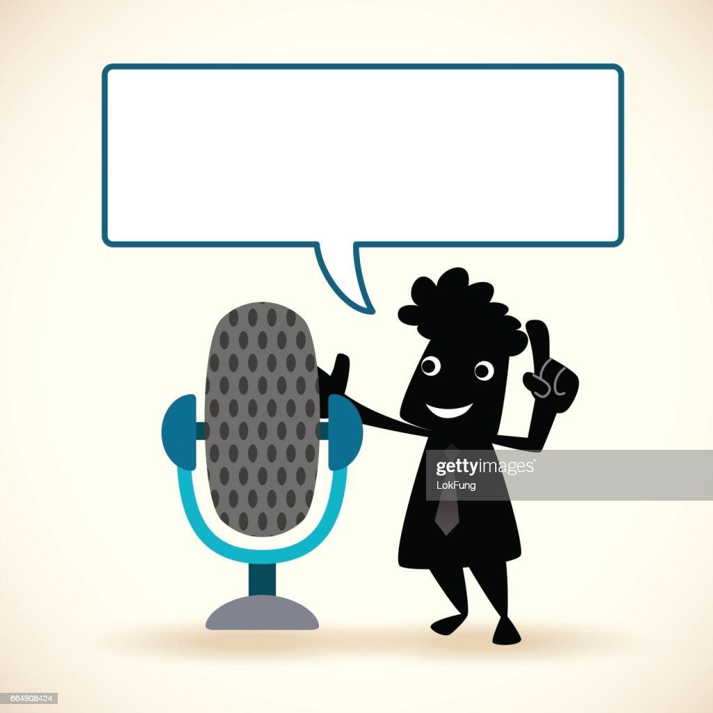 Cartoon man is making a public speech