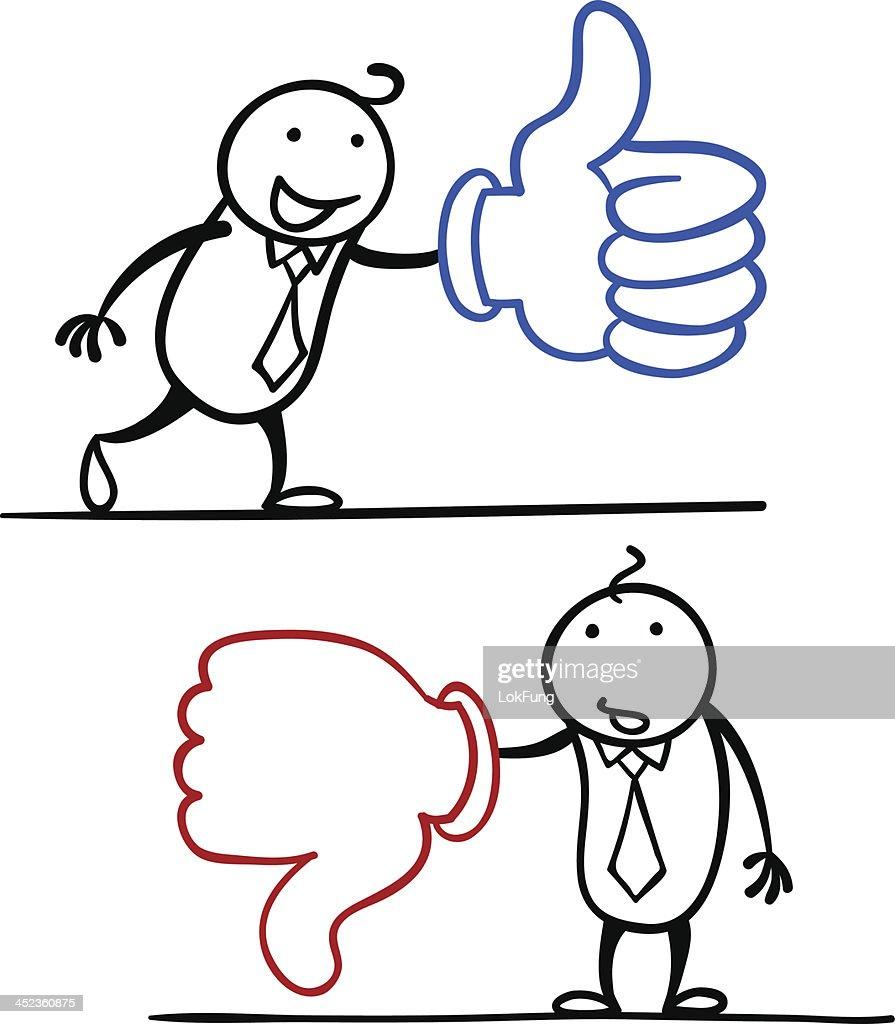 Cartoon man like and dislike