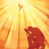 A cartoon man praying and the sun shining upon him