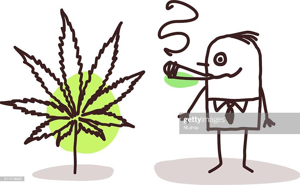 cartoon man smoking cannabis
