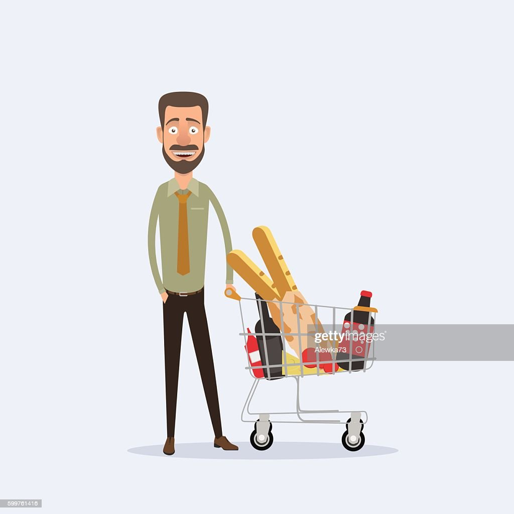 cartoon man standing with  basket full of products. Vector illustration.